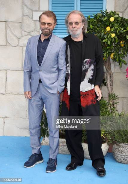 Benny Andersson and Björn Ulvaeus attend the World Premiere of Mamma Mia Here We Go Again at Eventim Apollo on July 16 2018 in London England
