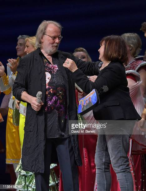 Benny Andersson and Catherine Johnson attend the 20th anniversary performance of Mamma Mia at the Novello Theatre on April 6 2019 in London England