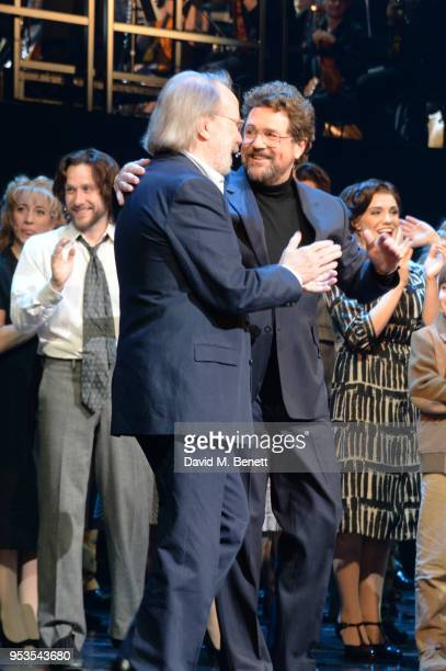 Benny Andersson and Michael Ball bow at the curtain call during the press night performance of 'Chess' at The London Coliseum on May 1 2018 in London...