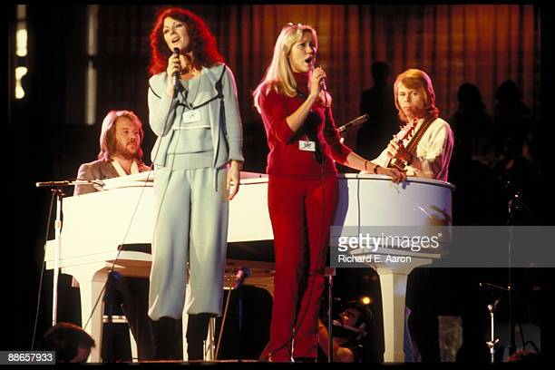 Benny Andersson AnniFrid Lyngstad Agnetha Faltskog Bjorn Ulvaeus of Abba performing on stage at a Unicef Gala on January 8th 1979 in New York