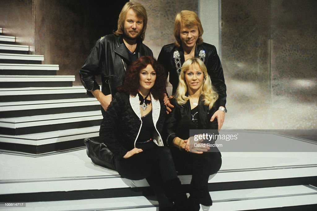 Benny Andersson, Bjorn Ulvaeus, Anni-Frid Lyngstad and Agnetha Faltskog of Swedish pop group Abba on the 'Mike Yarwood Christmas Show' filmed at BBC Television Centre in London, England on December 06, 1978
