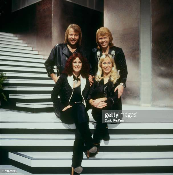 Benny Andersson Bjorn Ulvaeus AnniFrid Lyngstad and Agnetha Faltskog of Swedish pop group Abba on the 'Mike Yarwood Christmas Show' filmed at BBC...