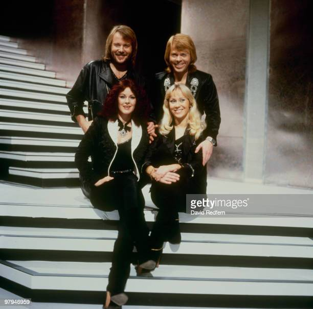 Benny Andersson, Bjorn Ulvaeus, Anni-Frid Lyngstad and Agnetha Faltskog of Swedish pop group Abba on the 'Mike Yarwood Christmas Show' filmed at BBC...