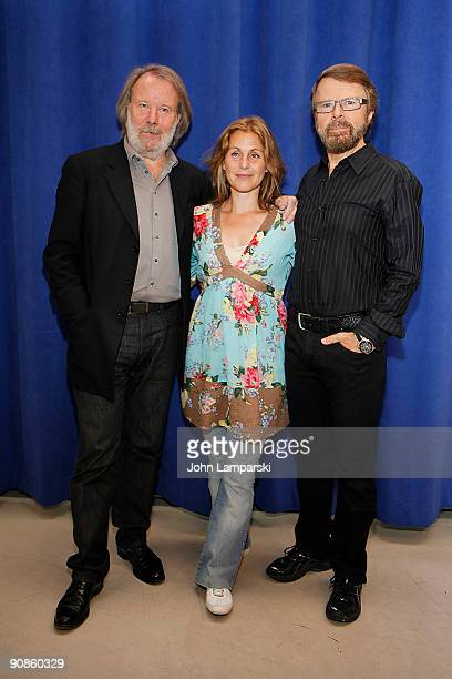 Benny Andersson Helen Sjoholm and Bjorn Ulvaeus attends the photo call for 'Kristina' at the New 42nd Street Studios on September 16 2009 in New York...