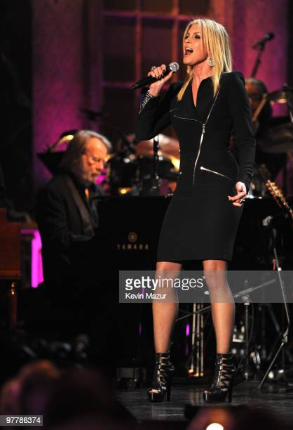 Benny Andersson of ABBA and Faith Hill perform on stage at the 25th Annual Rock and Roll Hall of Fame Induction Ceremony at The Waldorf=Astoria on...