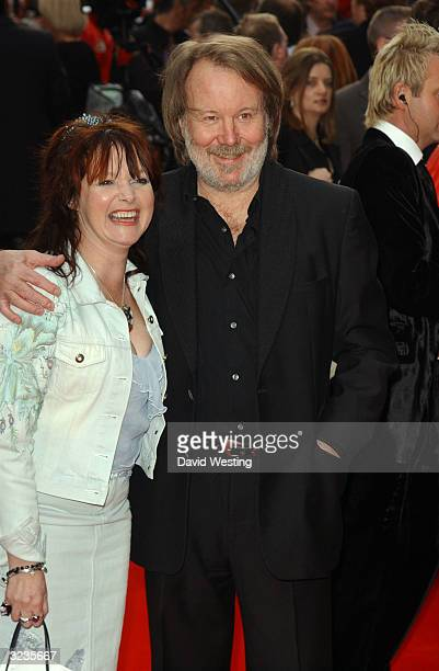 "Benny Andersson of ABBA and his wife Mona Norklit arrive at the fifth anniversary performance of ""Mamma Mia!,"" a musical based on ABBA's hits at the..."