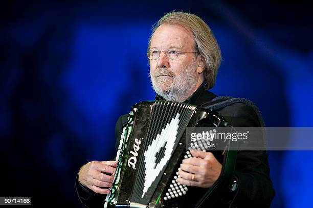 Benny Andersson performs on stage as part of Thank You For The Music... A Celebration Of The Music Of Abba at Hyde Park on September 13, 2009 in...