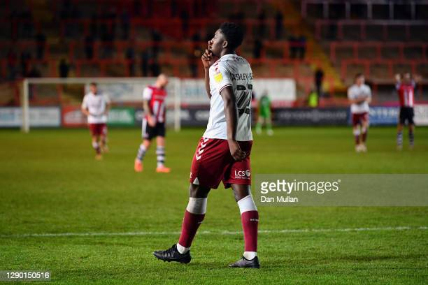 Benny Ashley-Seal of Northampton Town celebrates after scoring his side's second goal during the EFL Trophy match between Exeter City and Northampton...