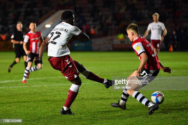 Benny Ashley-Seal of Northampton Town scores his side's second goal during the EFL Trophy match between Exeter City and Northampton Town at St James...