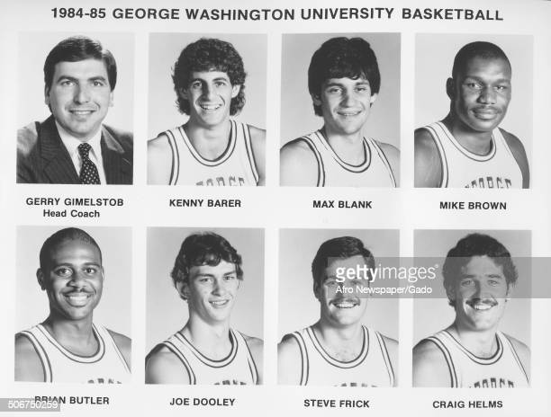 Benny Barer Max Blank basketball player Mike Brown Brian Butler Joe Dooley Steve Frick and Craig Helms at George Washington University Washington DC...