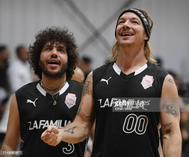 Benny Blanco and Diplo of Team La Familia talk as they warm up before Roc Nation's Roc da Court allstar basketball game benefiting the Boys Girls...