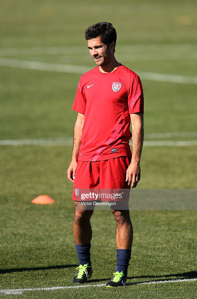 Benny Feilhaber looks on during the U.S. Men's Soccer Team training session at the Home Depot Center on January 17, 2013 in Carson, California.