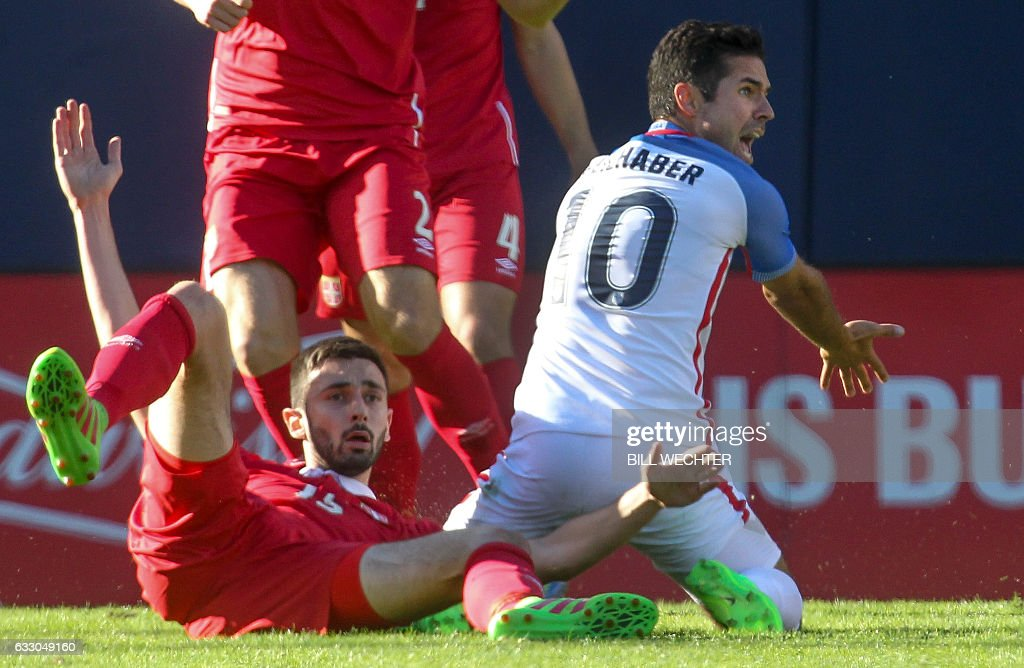 Benny Feilhaber of the US, right, calls but does not get a penalty on Serbia's Sefan Panic during the second half of a MLS friendly match at Qualcomm Stadium in San Diego, California on January 29, 2017. / AFP / Bill Wechter