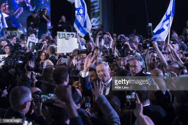Benny Gantz a former head of the IDF and head of Israel resilience party greets supporters as he enters a campaign event on January 29 2019 in Tel...