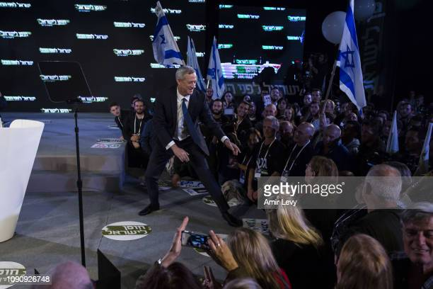 Benny Gantz a former head of the IDF and head of Israel resilience party gestures to supporters in a campaign event on January 29 2019 in Tel Aviv...