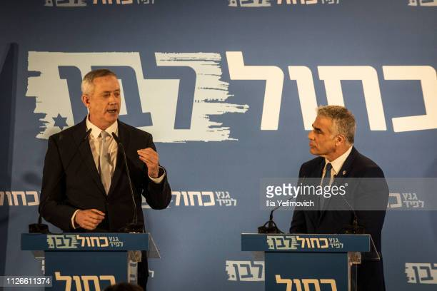 Benny Gantz and Yair Lapid seen on stage during the announcement of the new Blue and White Alliance on February 21 2019 in Tel Aviv Isreal Benny...