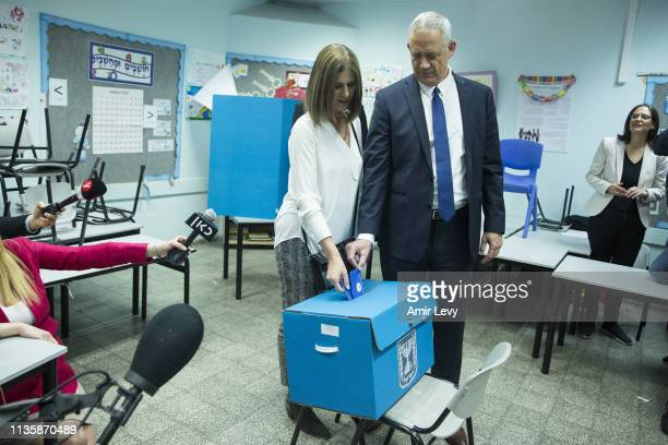 Benny Gantz Blue and White leader and his wife Revital cast thier ballot at a polling station in Rosh Ha'ayin as Israelis vote for the parliamentary...