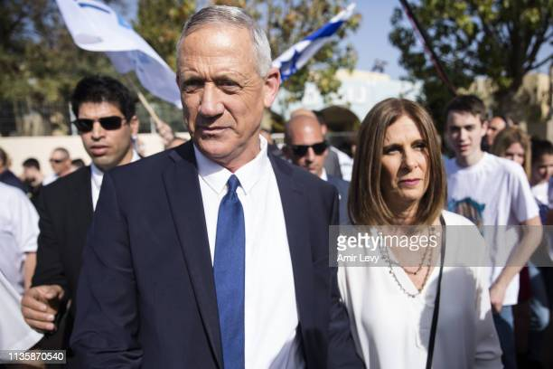 Benny Gantz Blue and White leader and his wife Revital leave a polling station in Rosh Ha'ayin after casting thier vote for the parliamentary...