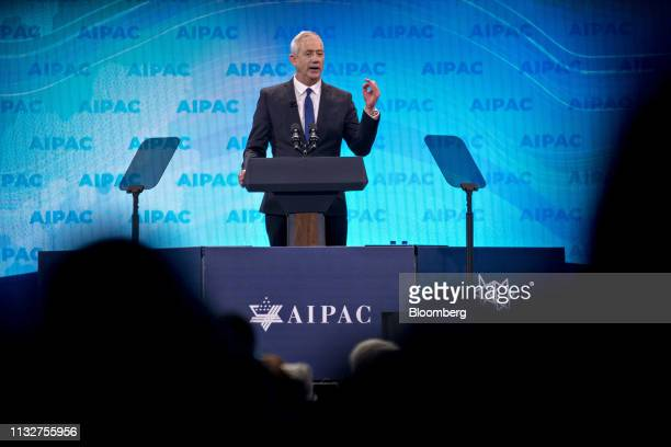 Benny Gantz, former chief of staff of the Israel Defense Forces and leader of the Blue and White Party, speaks during the AIPAC policy conference in...