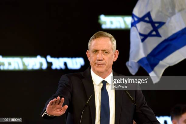 Benny Gantz Head of the 'Israel Resilience' party speaks at the campaign opening event of quotIsrael Resilience Partyquot in Tel Aviv on January 29...