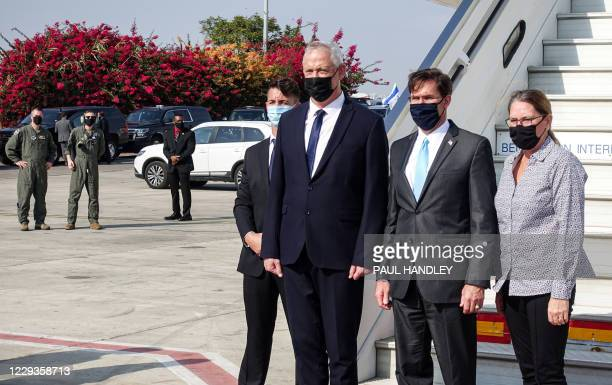 Benny Gantz , Israel's Alternate Prime Minister and Defence Minister, receives US Defense Secretary Mark Esper and his wife Leah , all mask-clad due...