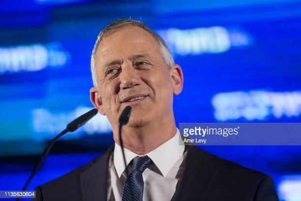 Benny Gantz leader of Blue and White delivers a speech during his closure campaign rally on April 7 2019 in Tel Aviv Israel
