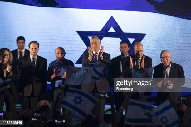 Benny Gantz leader of the Blue and White party center holds a final campaign rally with fellow candidates Moshe Yaalon and Yair Lapid in Tel Aviv on...