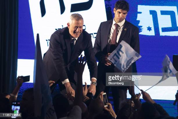 Benny Gantz leader of the Blue and White party holds a final campaign rally with supporters in Tel Aviv on Sunday April 7 2019 After voting Israeli...