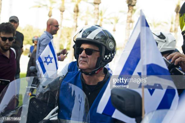 Benny Gantz leader of the Blue and White party leads a caravan of 100 motorcycles as part of his 'Every Voice Counts' campaign at the Expo Center in...