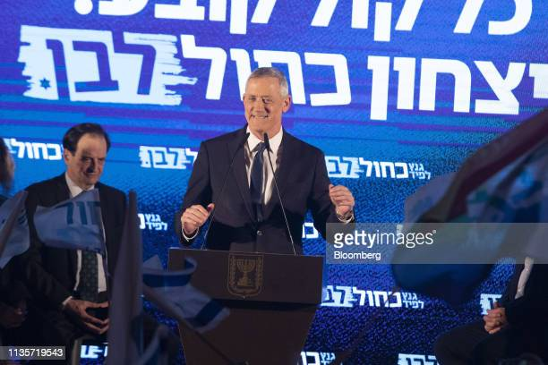 Benny Gantz leader of the Blue and White party reacts during a final campaign rally with supporters in Tel Aviv on Sunday April 7 2019 After voting...