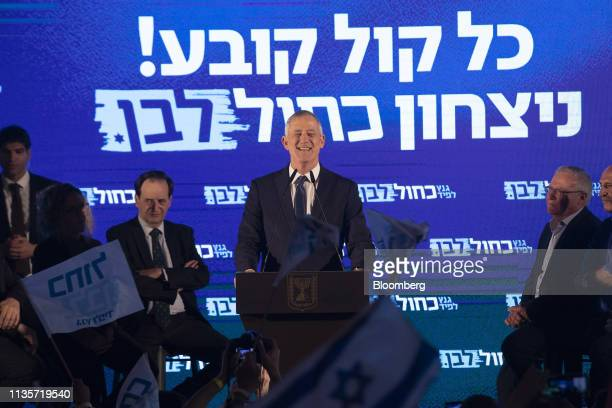 Benny Gantz leader of the Blue and White party speaks during a final campaign rally with supporters in Tel Aviv on Sunday April 7 2019 After voting...