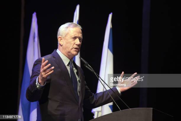 Benny Gantz leader of the Blue White party speaks to supporters during a rally at the Cameri theatre in Tel Aviv Israel on Thursday April 4 2019...