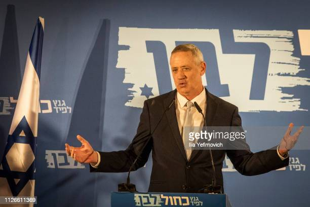 Benny Gantz seen on stage during the announcement of the new Blue and White Alliance on February 21 2019 in Tel Aviv Isreal Benny Gantz and Yair...
