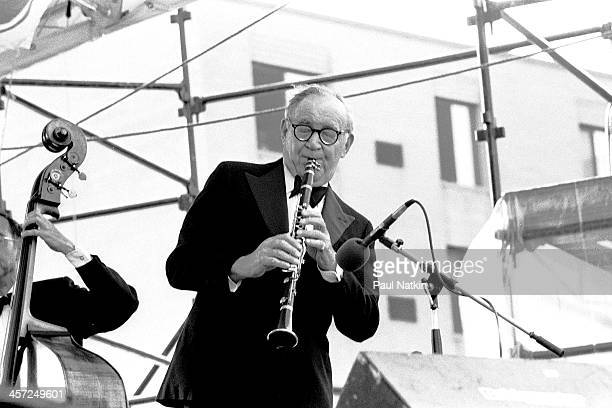 Benny Goodman performs at a neighborhood music festival Chicago Illinois June 28 1981