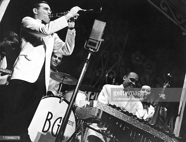 Benny Goodman playing clarinet in his quartet with Lionel Hampton on the vibes 1937