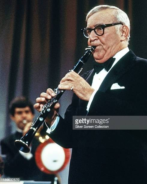 Benny Goodman US jazz clarinetist and bandleader playing the clarinet during a live concert performance circa 1975