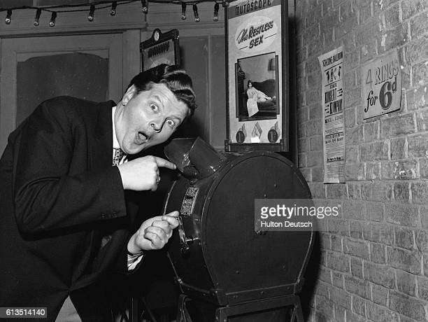 Benny Hill the English comedian rehearses for his show at the BBC television studios in Shepherd's Bush