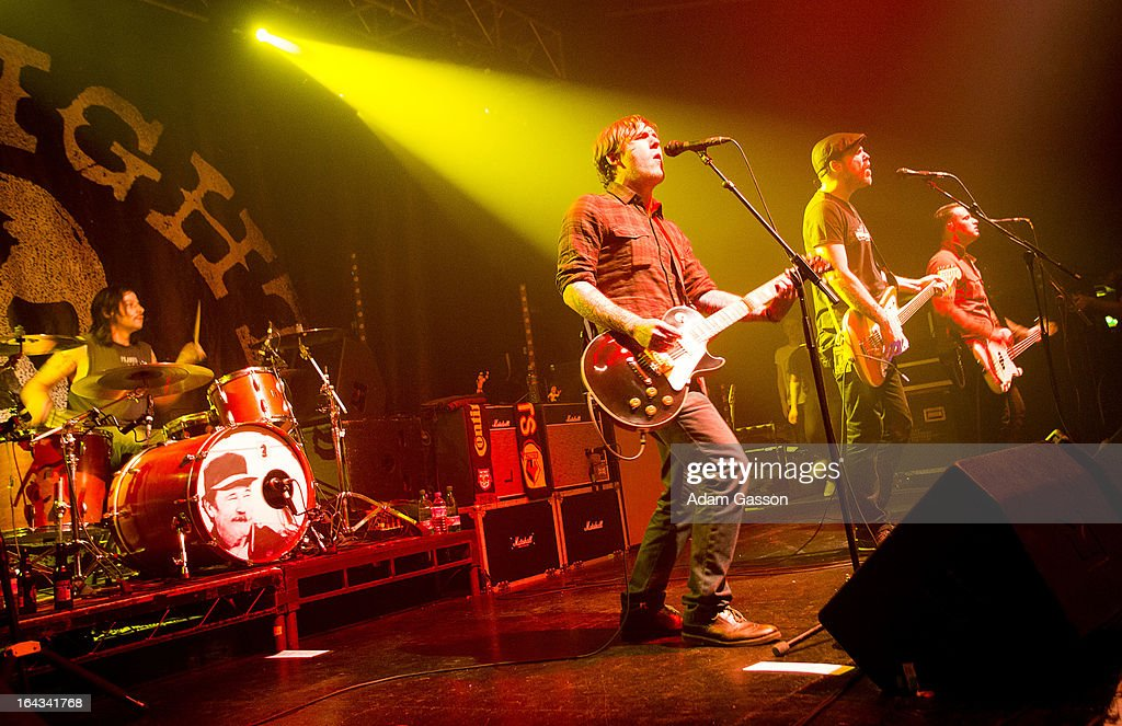Benny Horowitz, Brian Fallon, Ian Perkins and Alex Levine from The Gaslight Anthem perform at O2 Academy on March 22, 2013 in Bristol, England.