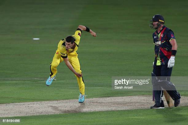 Benny Howell of Gloucestershire bowls as Kent's Darren Stevens looks on during the NatWest T20 Blast South Group match at The Spitfire Ground on July...