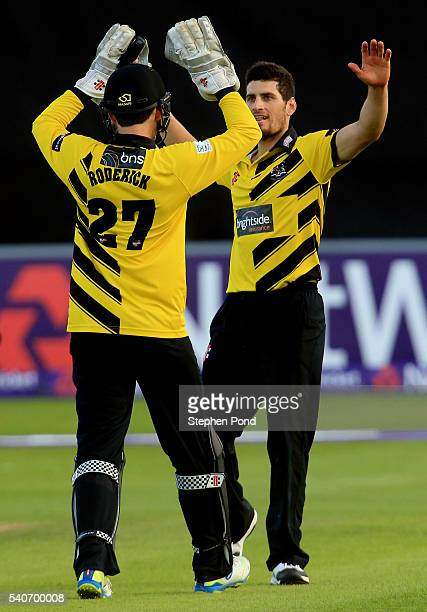 Benny Howell of Gloucestershire celebrates a wicket during the NatWest T20 Blast match between Essex and Gloucestershire at the Ford County Ground on...