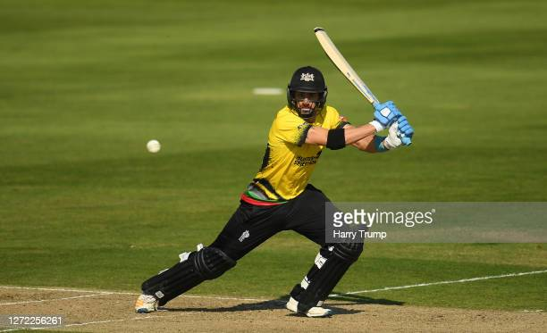 Benny Howell of Gloucestershire plays a shot during the Vitality Blast match between Somerset and Gloucestershire at The Cooper Associates County...
