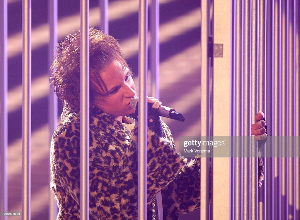 Benny Kieckhaeben performs a song during the rehearsal for the singer qualifying contest DSDS 'Deutschland sucht den Superstar' 4th motto show on April 4, 2009 in Cologne, Germany.