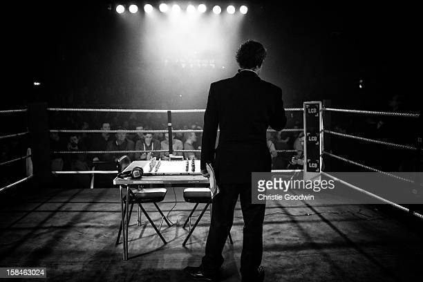 Benny King and Isidro Gete in the ring during the Chessboxing 2012 Season Finale at Scala on December 8 2012 in London England