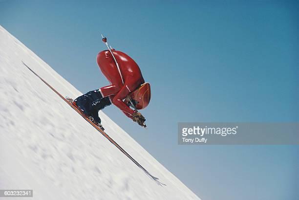 Benny Lindberg of Sweden during the Kilometere Speed Skiing event on 14 July 1978 in Zermatt Switzerland