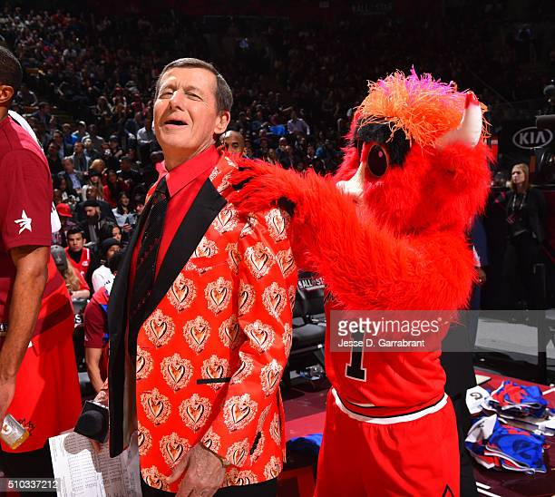 Benny Mascot for the Chicago Bulls gives TNT Announcer Craig Seager during the NBA AllStar Game as part of the 2016 NBA All Star Weekend on February...