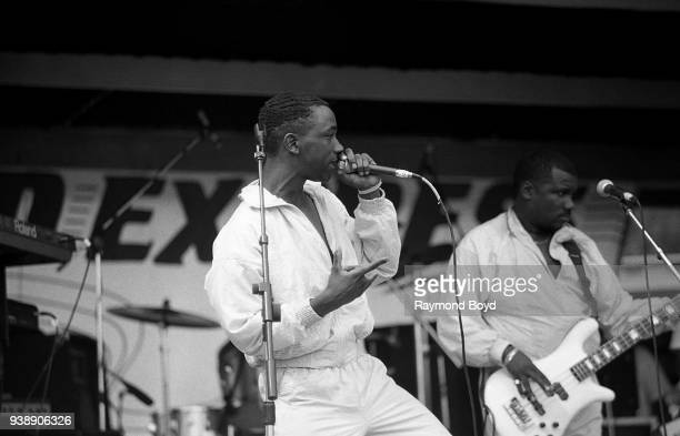 Benny 'Scooter' Dancy from the gogo group EU performs during the Miller Sound Express concert in Milwaukee Wisconsin in June 1989