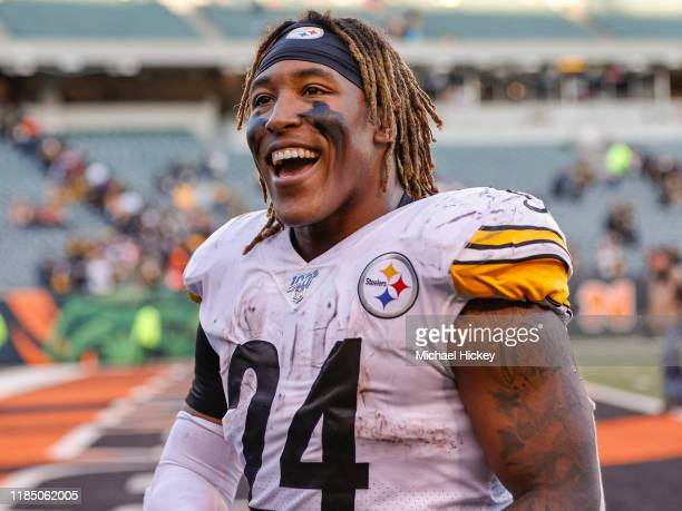 Benny Snell of the Pittsburgh Steelers is seen after the game against the Cincinnati Bengals at Paul Brown Stadium on November 24, 2019 in...
