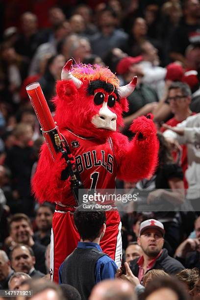 'Benny the Bull' Mascot of the Chicago Bulls keeps the crowd going during a break in the action against the Washington Wizards on April 16 2012 at...