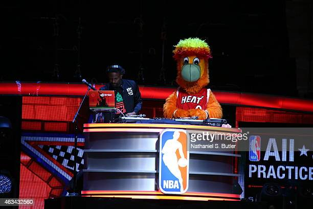 Benny the Miami Heat mascot DJs during NBA AllStar Practice as part of 2015 AllStar Weekend at Madison Square Garden on February 14 2015 in New York...