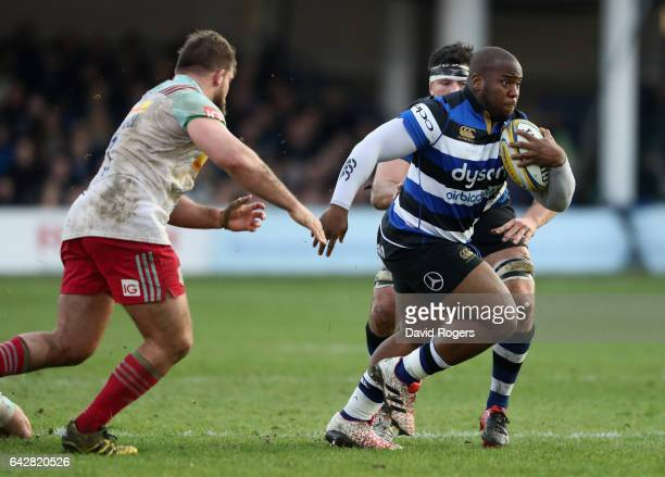 Beno Obano of Bath breaks with the ball during the Aviva Premiership match between Bath Rugby and Harlequins at the Recreation Ground on February 18...
